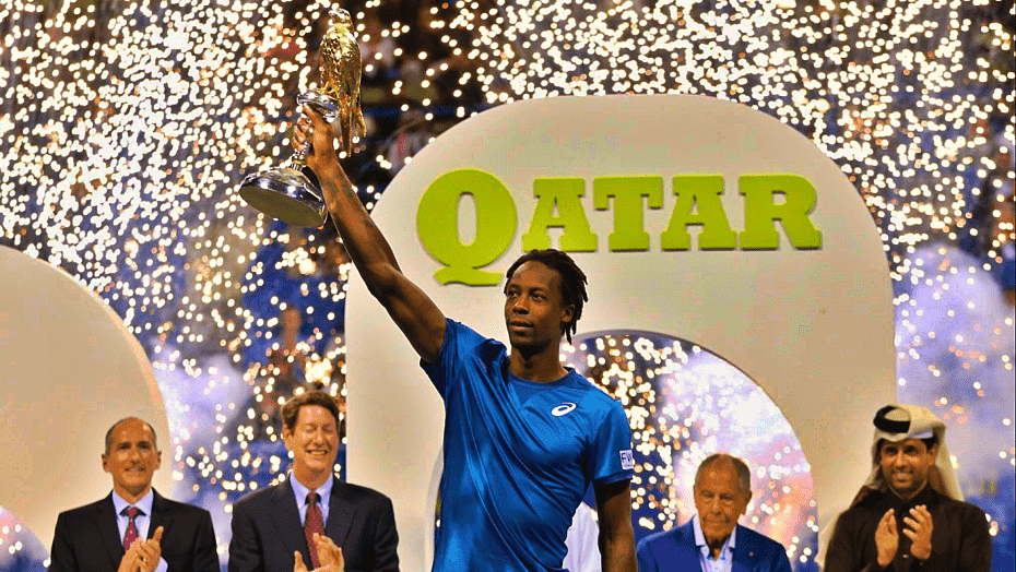 Andy Taylor. Announcer. Qatar ExxonMobil Open 2018. Day 6. Doha Champion. Gael Monfils