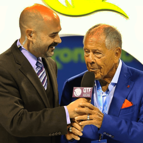 Andy Taylor. Announcer. Qatar ExxonMobil Open. Nick Bollettieri