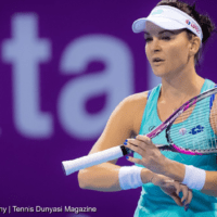 Sports Emcee Andy Taylor. Qatar Total Open 2018. Round-1. Day-1. Agnieszka Radwanska