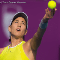 Tennis Emcee Andy Taylor. Qatar Total Open 2018. Round of 16. Day-4. Garbine Muguruza