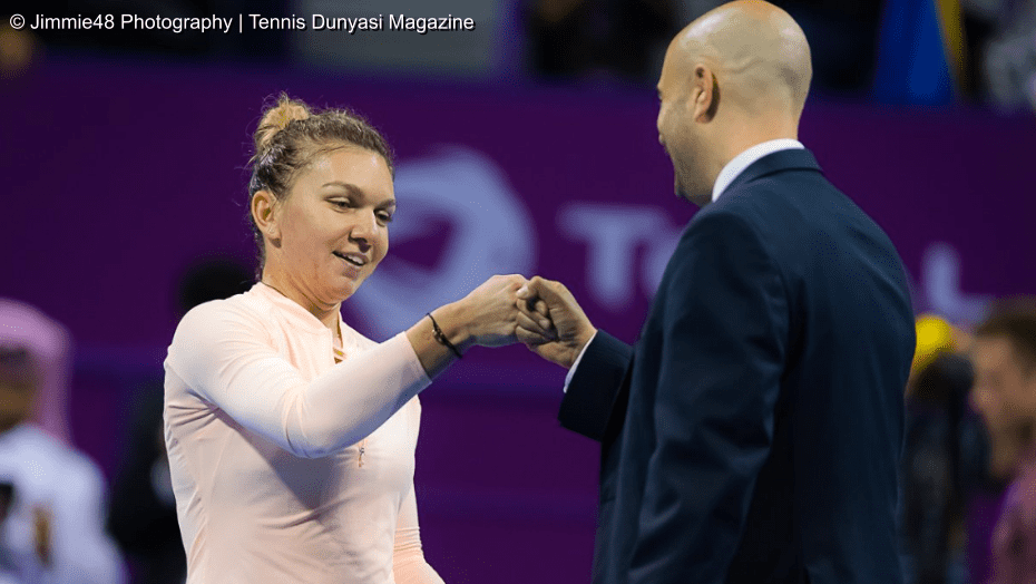 Emcee Andy Taylor. Qatar Total Open 2018. Quarterfinal. Day-5. Simona Halep