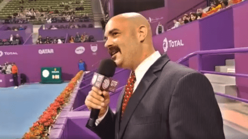 Announcer Andy Taylor. Qatar Total Open 2018. Player Introduction: Angelique Kerber