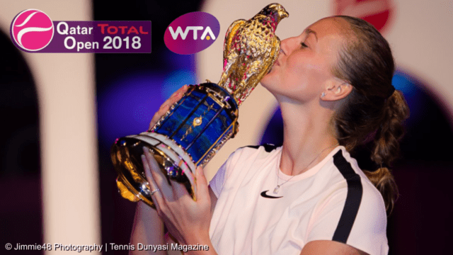Announcer Andy Taylor. Qatar Total Open 2018 Champion Petra Kvitova