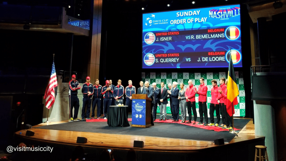Andy Taylor emcees the Davis Cup Draw Ceremony