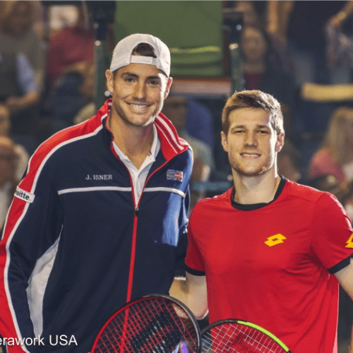 Davis Cup Tennis Announcer Andy Taylor. 2018 World Group Quarterfinal Nashville. John Isner defeats Joris De Loore