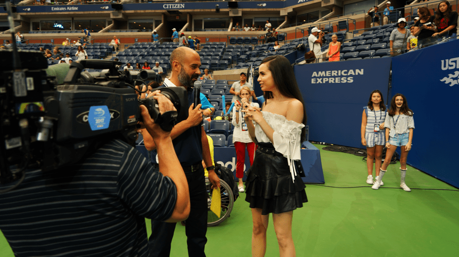 Andy Taylor. Voice Over. Announcer. 2017 US Open Champion. Arthur Ashe Kids Day Host Sofia Carson