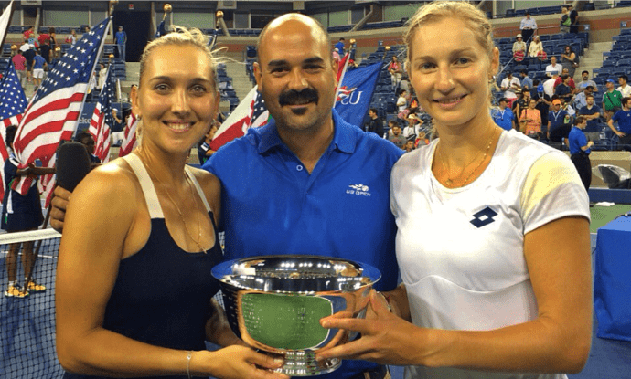 2014 US Open. Andy Taylor hosts the Doubles Trophy Presentation
