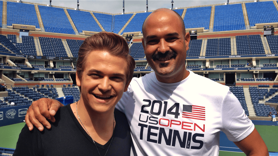 2014 US Open. Arthur Ashe Kids Day. Announcer Andy Taylor with Hunter Hayes