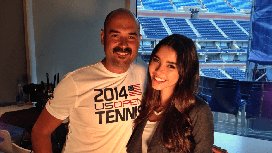 2014 US Open. Arthur Ashe Kids Day. Announcer Andy Taylor with Madison Beer