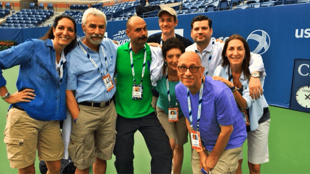 2014 US Open. Arthur Ashe Kids Day. Announcer Andy Taylor with the Stadium Production Team