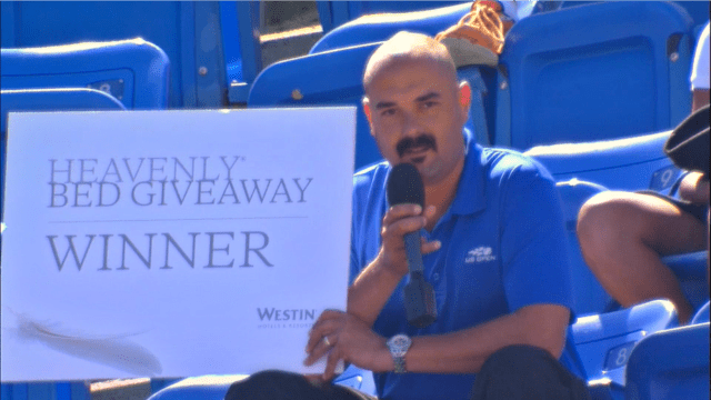 2014 US Open. Announcer Andy Taylor steps out of the booth for a seat upgrade
