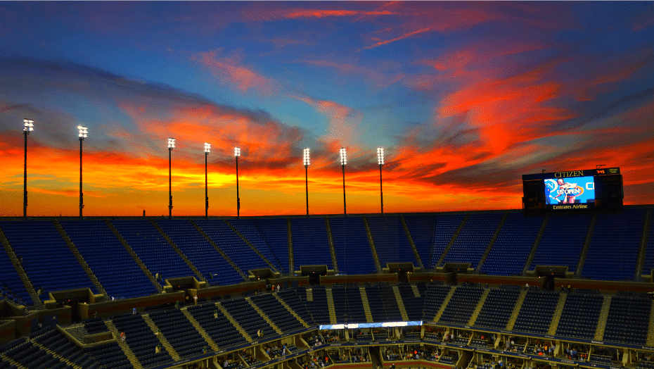 2014 US Open. Announcer Andy Taylor. Sunset over Arthur Ashe Stadium