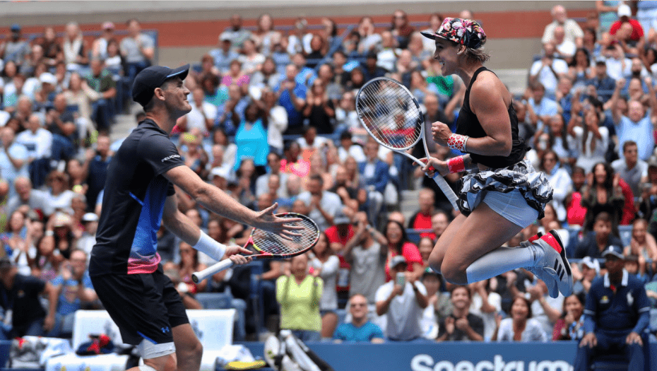 Andy Taylor Sports Emcee 2018 US Open 053 Mattek-Sands Murray Champions