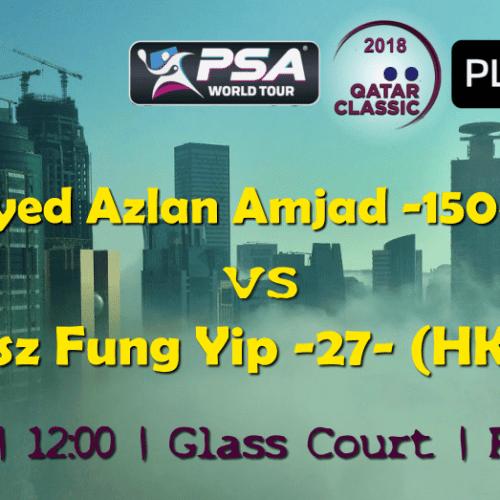 Andy Taylor Announcer. 2018 Qatar Classic. Round 1. Syed Azlan Amjad vs Tsz Fung Yip
