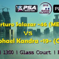 Andy Taylor Announcer. 2018 Qatar Classic. Round 1. Arturo Salazar vs Raphael Kandra