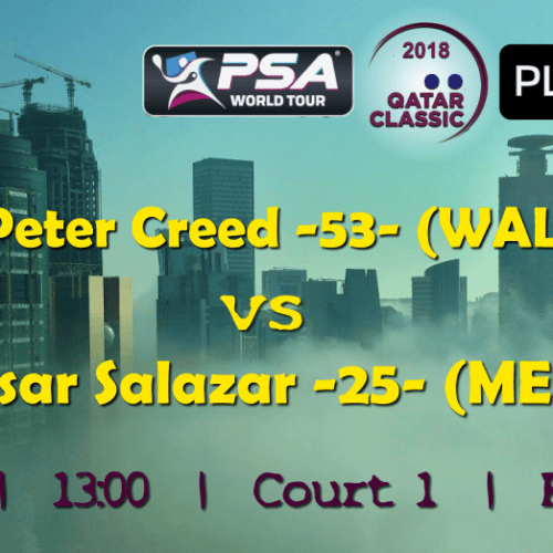 Andy Taylor Announcer. 2018 Qatar Classic. Round 1. Peter Creed vs Cesar Salazar