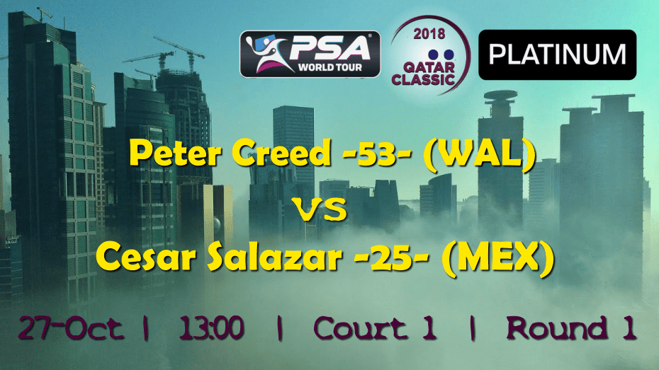 Andy Taylor Emcee. 2018 Qatar Classic. Round 1. Peter Creed vs Cesar Salazar