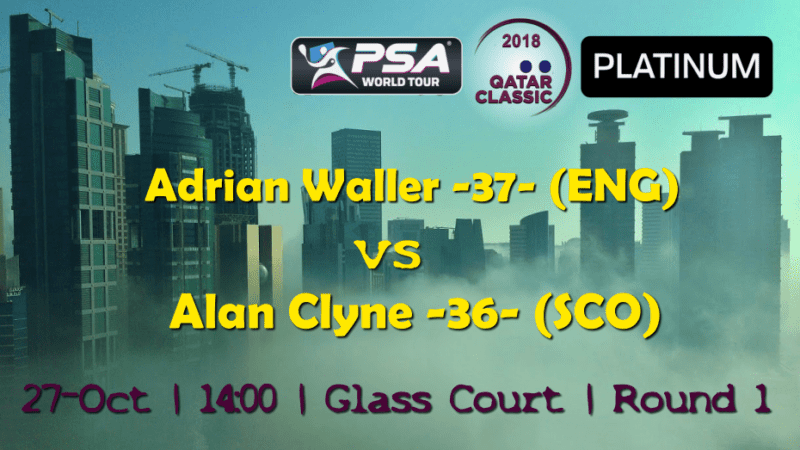 Andy Taylor Announcer. 2018 Qatar Classic. Round 1. Adrian Waller vs Alan Clyne