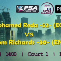 Andy Taylor Announcer. 2018 Qatar Classic. Round 1. Mohamed Reda vs Tom Richards
