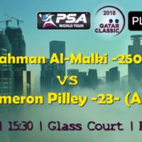 Andy Taylor Announcer. 2018 Qatar Classic. Round 1. Abdulrahman Al-Malki vs Cameron Pilley