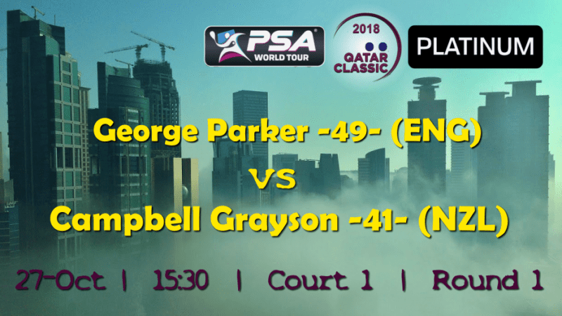 Andy Taylor Announcer. 2018 Qatar Classic. Round 1. George Parker vs Campbell Grayson
