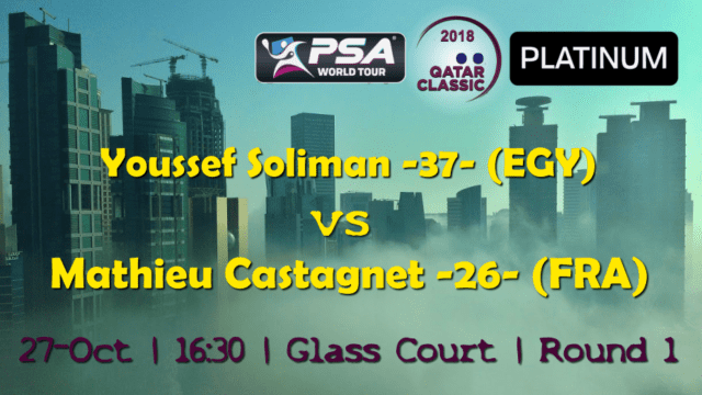 Andy Taylor Announcer. 2018 Qatar Classic. Round 1. Youssef Soliman vs Mathieu Castagnet
