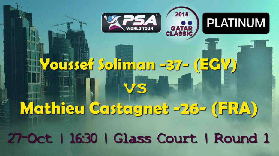 Andy Taylor Sports Emcee. 2018 Qatar Classic. Round 1. Youssef Soliman vs Mathieu Castagnet