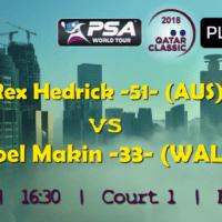 Andy Taylor Announcer. 2018 Qatar Classic. Round 1. Rex Hedrick vs Joel Makin