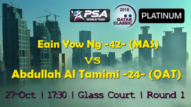Andy Taylor Announcer. 2018 Qatar Classic. Round 1. Eain Yow Ng vs Abdulla Al Tamimi