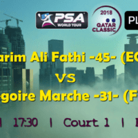 Andy Taylor Announcer. 2018 Qatar Classic. Round 1. Karim Ali Fathi vs Gregoire Marche