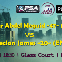 Andy Taylor Announcer. 2018 Qatar Classic. Round 1. Omar Abdel Meguid vs Declan James