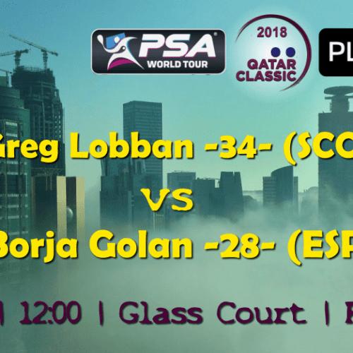 Andy Taylor Announcer. 2018 Qatar Classic. Round 2. Greg Lobban vs Borja Golan