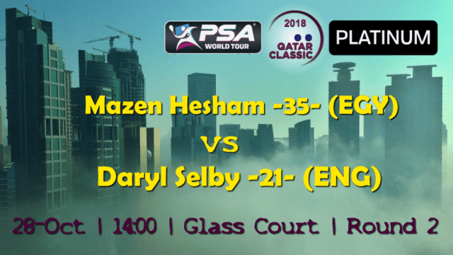 Andy Taylor Announcer. 2018 Qatar Classic. Round 2. Mazen Hesham vs Daryl Selby
