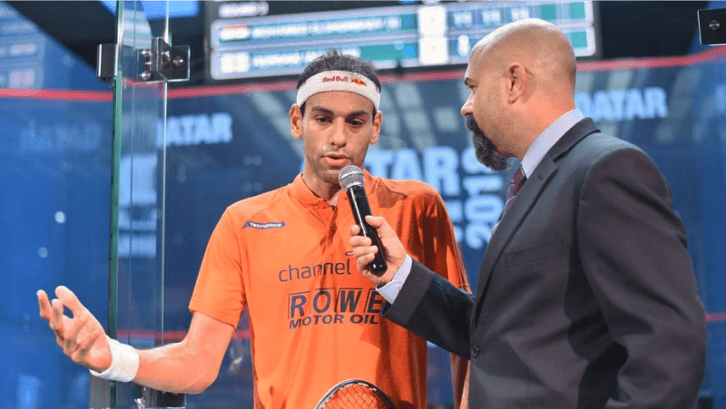 Andy Taylor Announcer 2018 Qatar Classic Round of 16 Victory Mohamed Elshorbagy