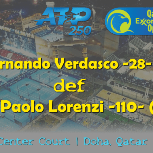 Announcer Andy Taylor. Qatar ExxonMobil Open 2019. Day 1. Round 1. Match 1. Verdasco def Lorenzi