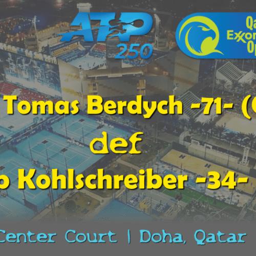 Announcer Andy Taylor. Qatar ExxonMobil Open 2019. Day 1. Round 1. Match 2. Berdych def Kohlschreiber