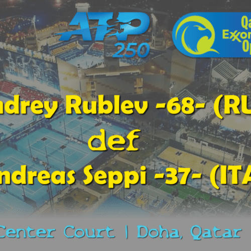 Announcer Andy Taylor. Qatar ExxonMobil Open 2019. Day 1. Round 1. Match 3. Rublev def Seppi