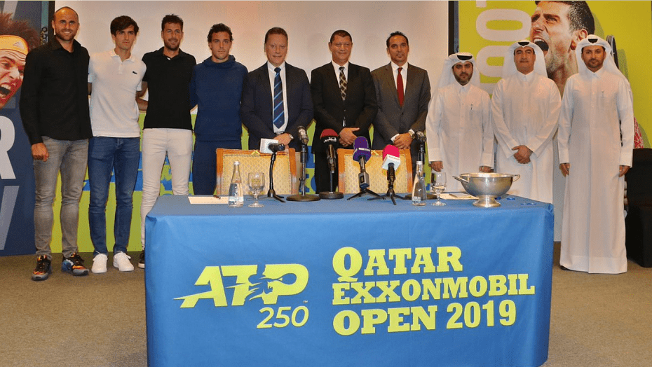 Tennis Announcer Andy Taylor. Qatar ExxonMobil Open 2019. Draw Ceremony Participants