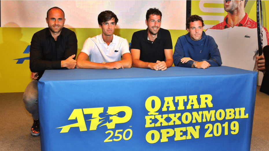 Tennis Announcer Andy Taylor. Qatar ExxonMobil Open 2019. Draw Ceremony Players