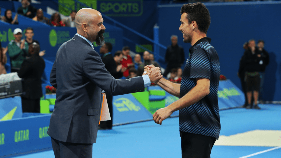 Announcer Andy Taylor. Qatar ExxonMobil Open 2019. Champion Roberto Bautista Agut. Trophy Ceremony
