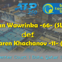 Announcer Andy Taylor. Qatar ExxonMobil Open 2019. Day 2. Round 1. Match 2. Wawrinka def Khachanov