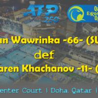 Announcer Andy Taylor. Qatar ExxonMobil Open 2019. Day 2. Round 1. Match 2. Wawrinka def Khachanov