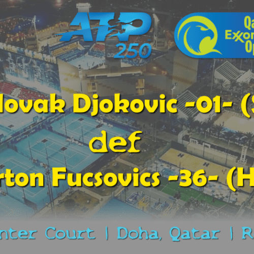 Sports Announcer Andy Taylor. Qatar ExxonMobil Open 2019. Day 3. Round of 16. Match 2. Djokovic def Fucsovics