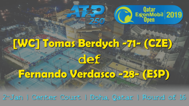 Tennis Emcee Andy Taylor. Qatar ExxonMobil Open 2019. Day 3. Round of 16. Match 4. Berdych def Verdasco