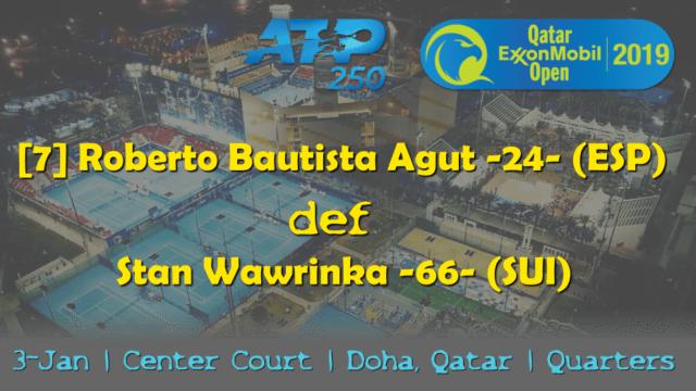 Announcer Andy Taylor. Qatar ExxonMobil Open 2019. Day 4. Quarterfinals. Match 1. Bautista Agut def Wawrinka