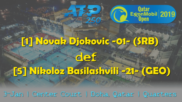 Announcer Andy Taylor. Qatar ExxonMobil Open 2019. Day 4. Quarterfinals. Match 2. Djokovic def Basilashvili