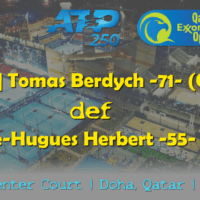 Announcer Andy Taylor. Qatar ExxonMobil Open 2019. Day 4. Quarterfinals. Match 3. Berdych def Herbert