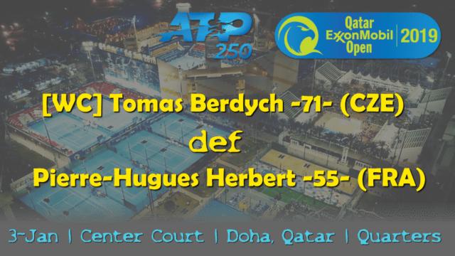 Announcer Andy Taylor. Qatar ExxonMobil Open 2019. Day 4. Quarterfinals. Match 3. Berdych def Herbert