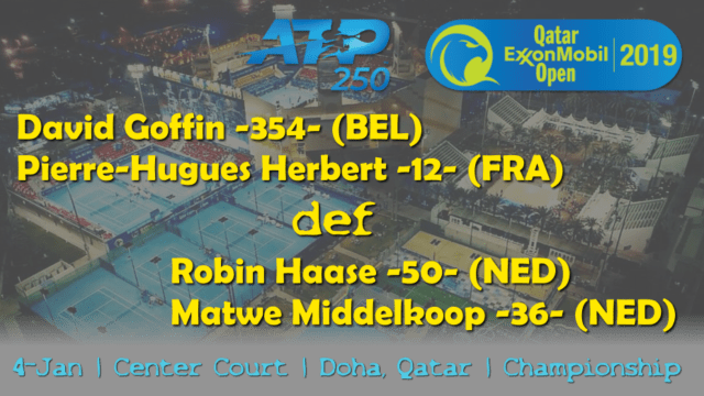 Announcer Andy Taylor. Qatar ExxonMobil Open 2019. Day 5. Doubles Championship. Match 1. Goffin Herbert def Haase Middelkopp