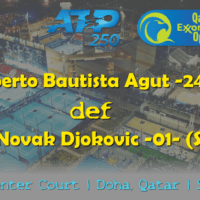 Announcer Andy Taylor. Qatar ExxonMobil Open 2019. Day 5. Semifinals. Match 2. Bautista Agut def Djokovic